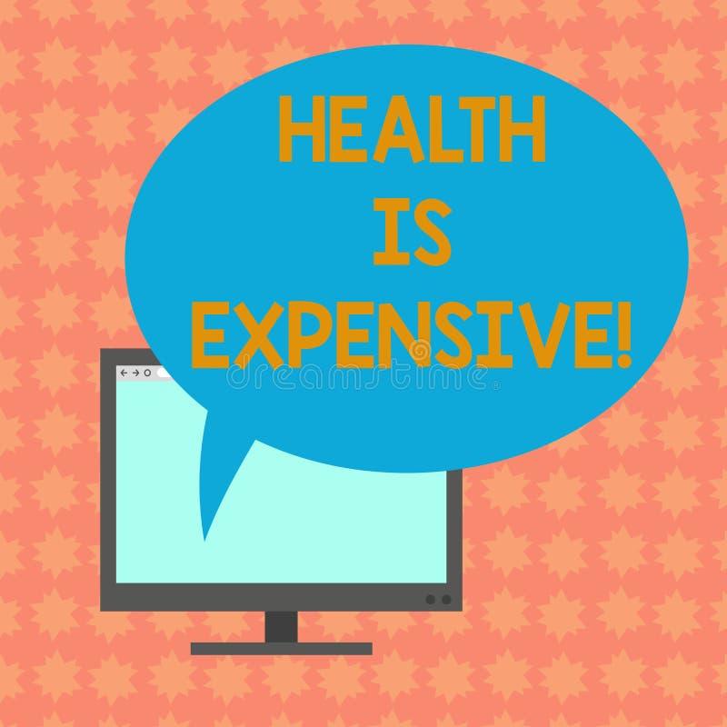 Die Anmerkung zu schreiben, die Gesundheit zeigt, ist teuer Die Geschäftsfotopräsentation mach's gut Körper essen gesunden Spiels lizenzfreie abbildung