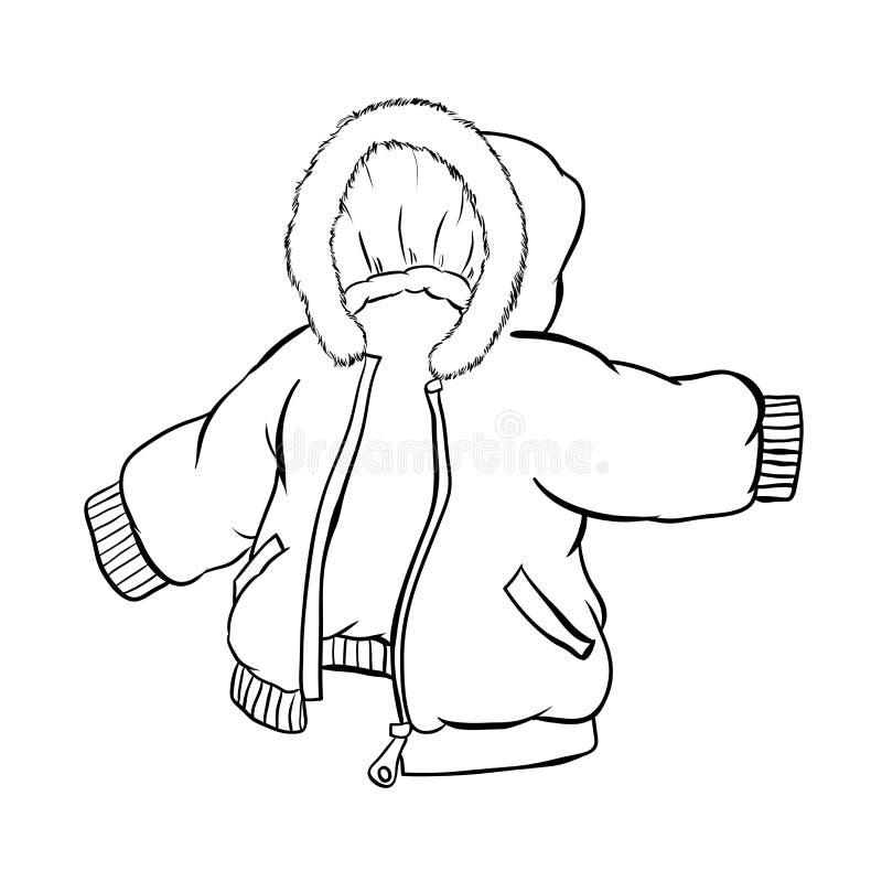 Die Anorak-Jacke, die auf weißem Hintergrund lokalisiert wird - Vector Illustration lizenzfreie abbildung