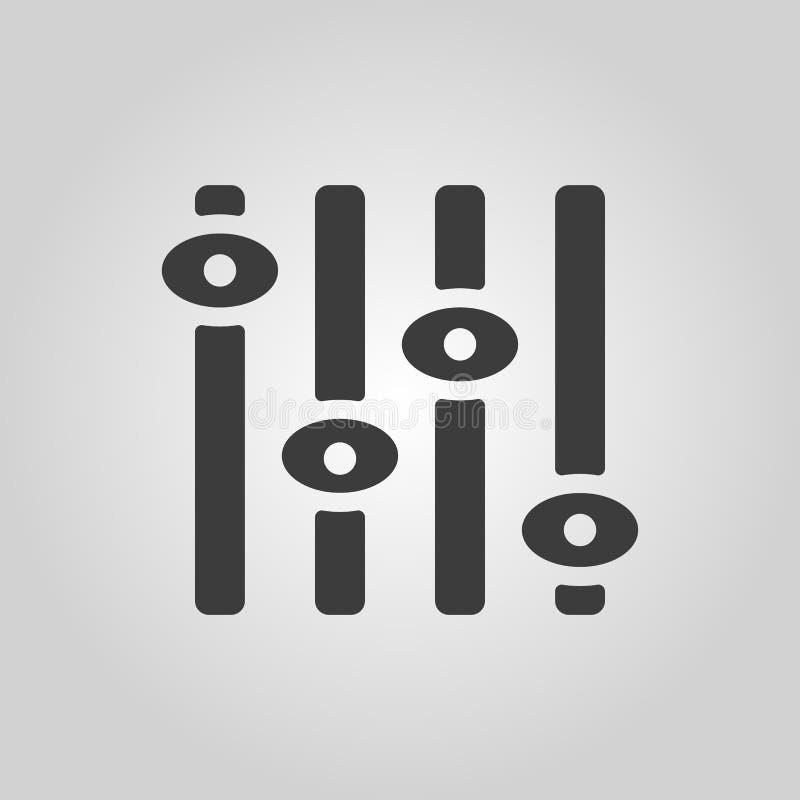 Die Anpassungsikone Regler und Mischen, Volumen, Einstellungssymbol flach vektor abbildung