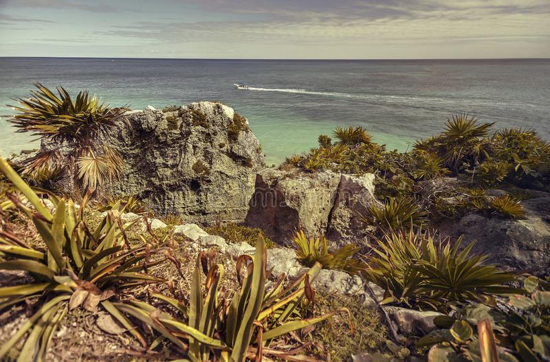 Die Ansicht über das karibische Meer stockbild