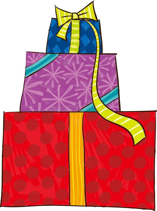 Die Ansicht der Geschenkbox lizenzfreie abbildung