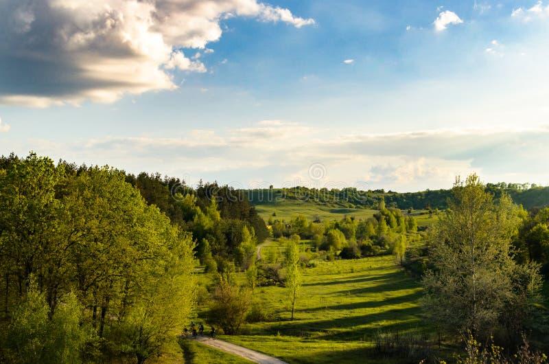 Die Ansicht vom Zugfenster auf dem Wald und den Hügeln stockfotografie