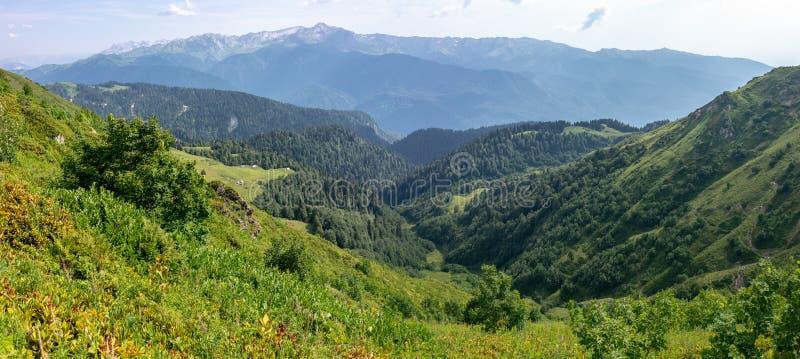 Die Ansicht von der Höhe eines grünen Gebirgstales mit den Wohngebäuden umgeben durch Hochgebirge Snow-capped Berg stockfotografie