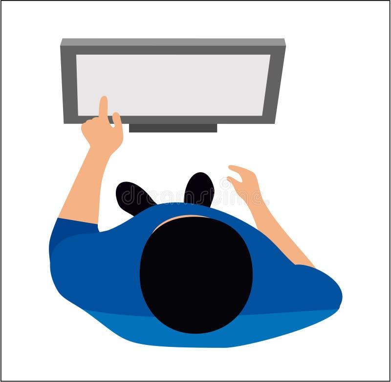 Die Ansicht von der Oberseite Der Mann klickt einen Link auf den Monitor lizenzfreie abbildung