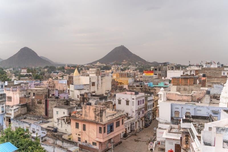 Die Ansicht von Pushkar-Straßen in Indien lizenzfreies stockbild