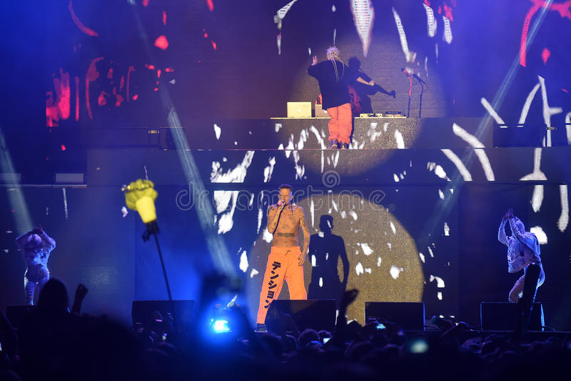 Die Antwoord. Singer Watkin Tudor Jones alias Ninja in the middle of Die Antwoord during performance at festival Rock for People in Hradec Kralove, Czech royalty free stock photography