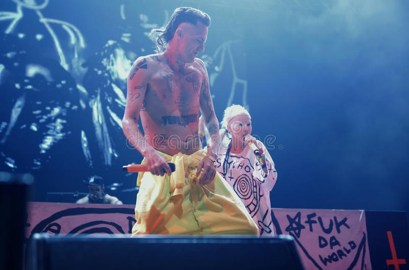 Die antwoord 027. South Africa electronic music band Die antwoord, Ninja and Yolandi visser, performs live during the first night of the 2015 Sonar night stock images