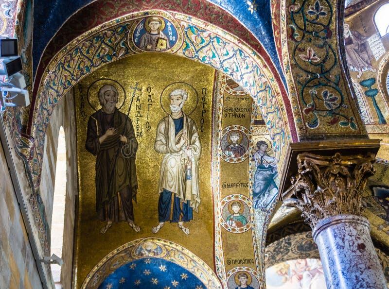 Die Apostel Peter und Andrew Byzantinisches Mosaik der Kirche lizenzfreie stockfotografie