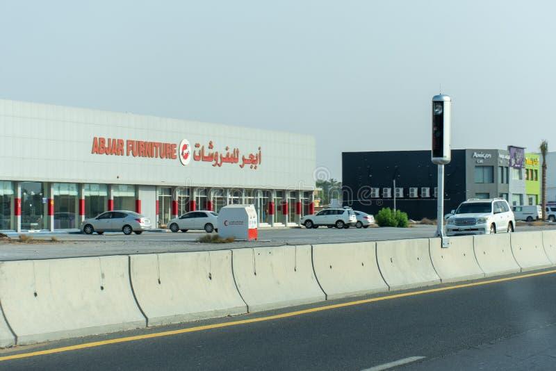 Die Arabische Emirate-Landstraßen sind von der Radargeschwindigkeitskamera einschließt Grenzgeschwindigkeit und Veranlassungsfahr lizenzfreies stockfoto