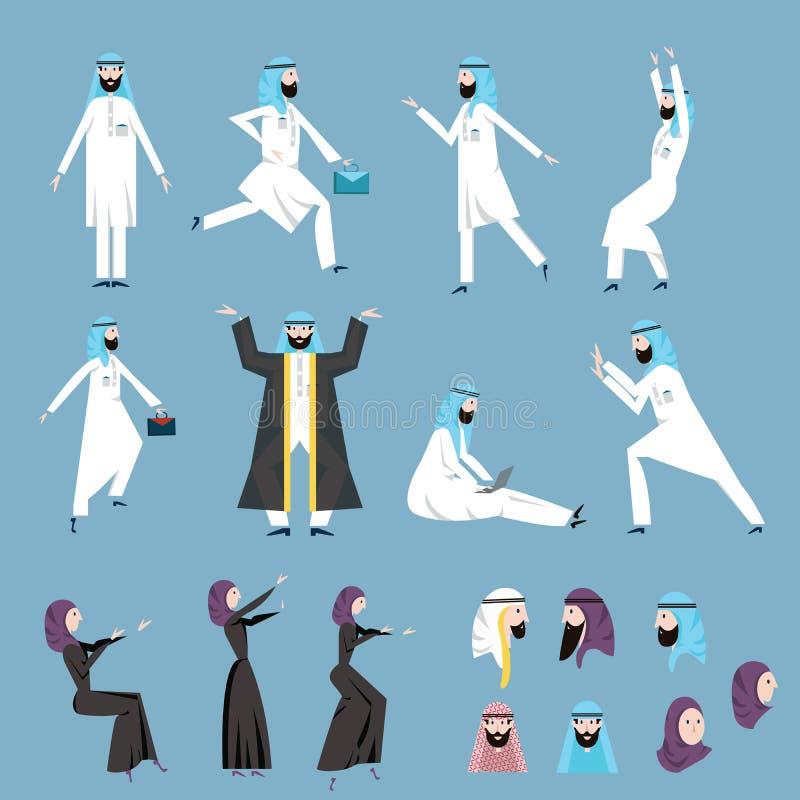 Die arabischen Leute, die Männer und die Frauen im arabischen Nationalkostüm in den verschiedenen Haltungen Glänzendes und glatte stock abbildung