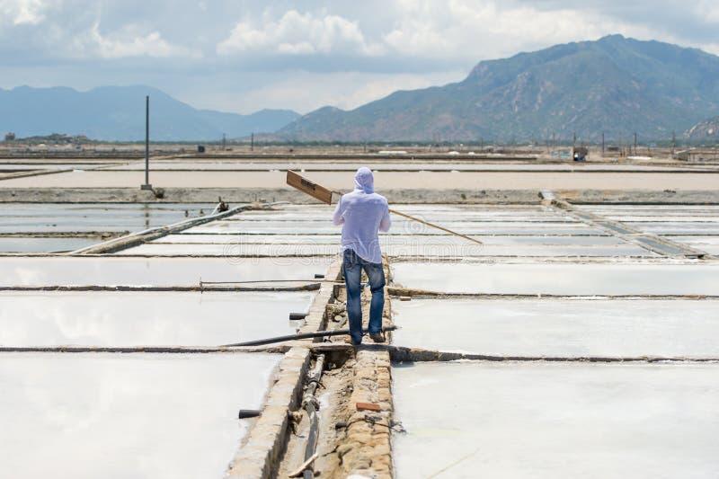 Die Arbeitskraft mit dem Werkzeug geht, für das Salzfeld zu arbeiten lizenzfreies stockfoto