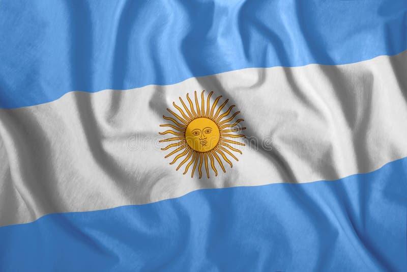 Die argentinische Flagge fliegt im Wind Farbenfrohe Nationalflagge Argentiniens Patriotismus, patriotisches Symbol lizenzfreie stockbilder