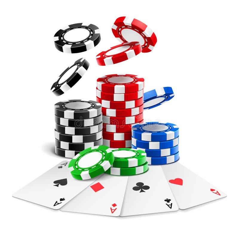 Die Asse, die nahe realistischem Kasino liegen, bricht, Karten ab stock abbildung