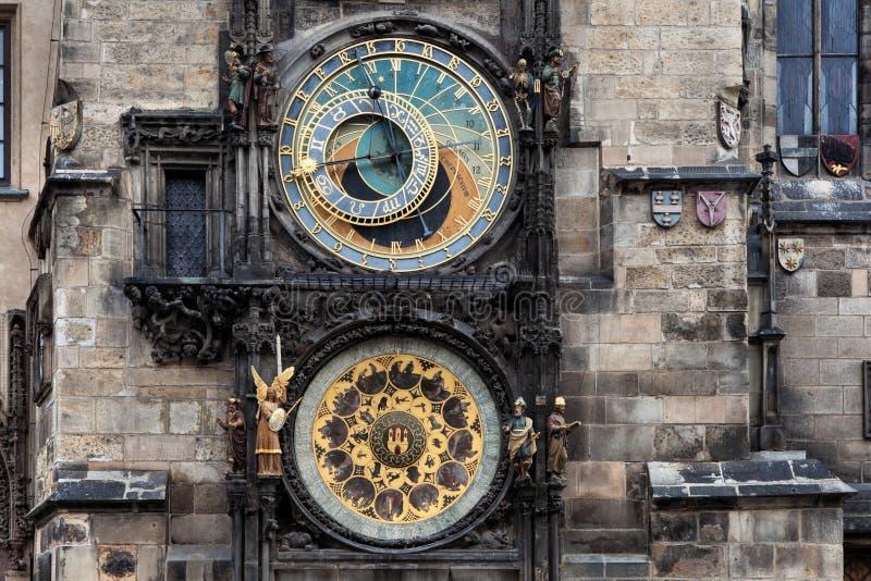 Die astronomische Borduhr in Prag stockbilder