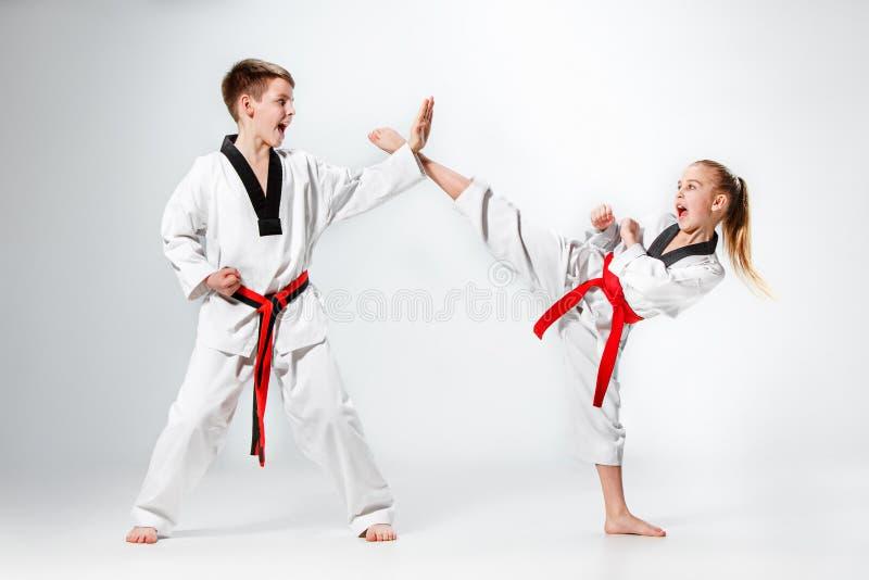 Die Atelieraufnahme der Gruppe Kinder, die Karatekampfkünste ausbilden stockfotos