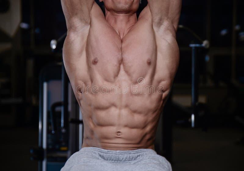 Die athletischen Männer des groben starken Bodybuilders, die oben pumpen, mischt mit d mit stockfotografie