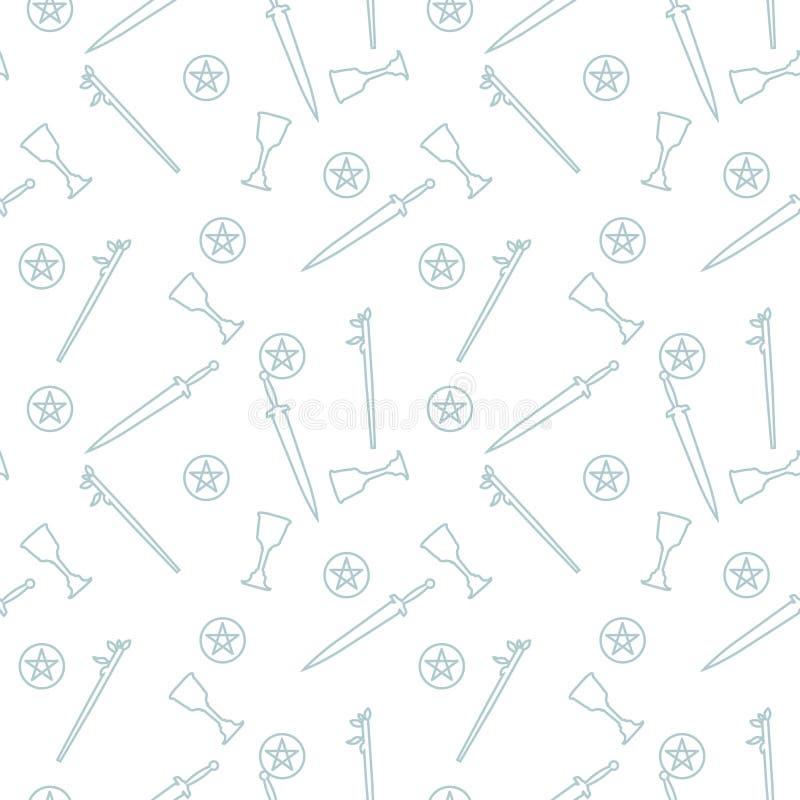 Die Attribute des Tarocklesers Nahtloses Muster lizenzfreie abbildung
