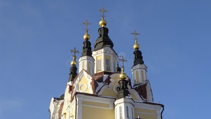 Die Auferstehungs-orthodoxe Kirche in Tomsk lizenzfreie stockfotos