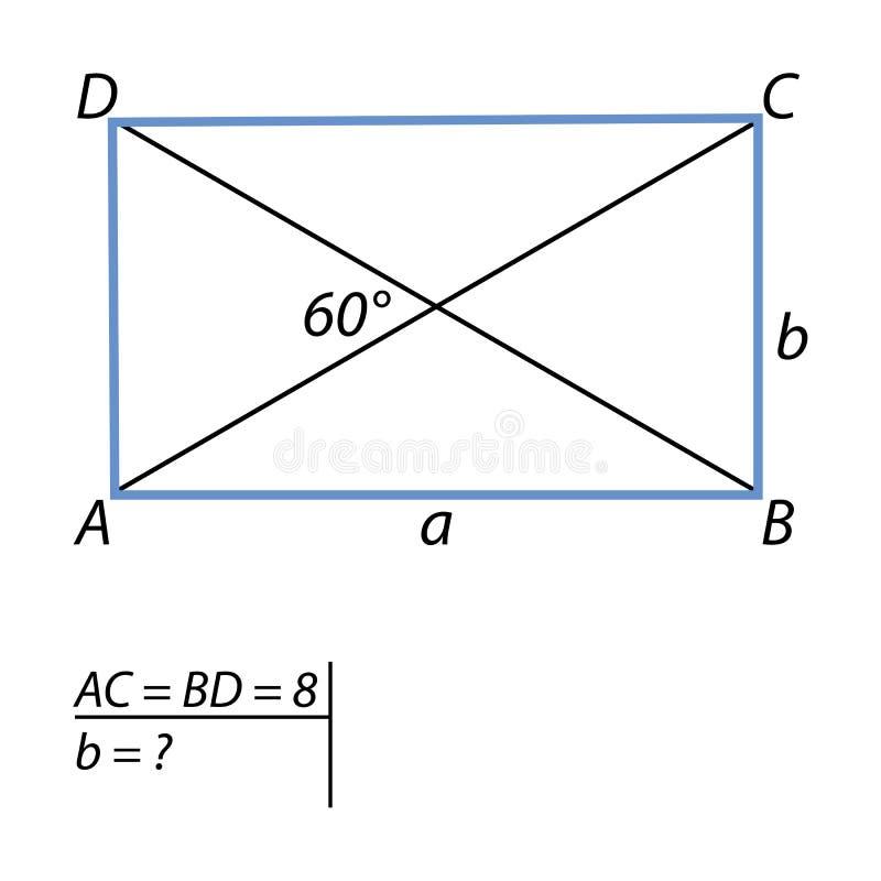 Die Aufgabe, die kurzen Seiten-Parallelogramme zu finden stock abbildung
