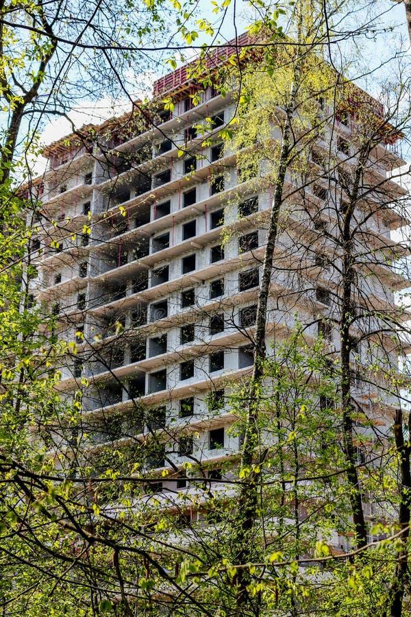 Die Aufrichtung eines Hochhausmultiwohnungsgebäudes im Wald lizenzfreies stockbild