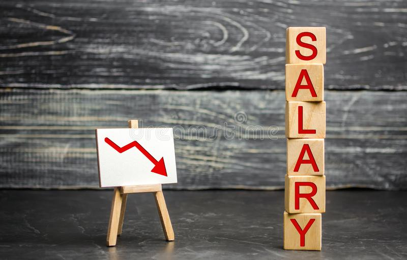 Die Aufschrift 'Gehalt 'und der rote Pfeil unten Senken Sie Gehalt, Lohnsätze Degradierung, Karriereabnahme Senkung des Standards lizenzfreie stockbilder