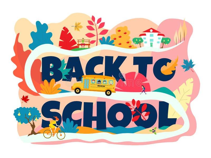 Die Aufschrift 'zurück zu Schule 'ist dunkelblau Der Schulbus geht den Hügel zur Schule hinauf Ein Mädchen, das ein Fahrrad reite lizenzfreie abbildung