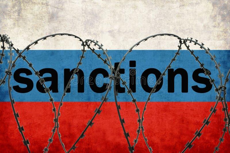Die Aufschrift auf den russischen Flagge Sanktionen Gefochten mit Stacheldraht stock abbildung