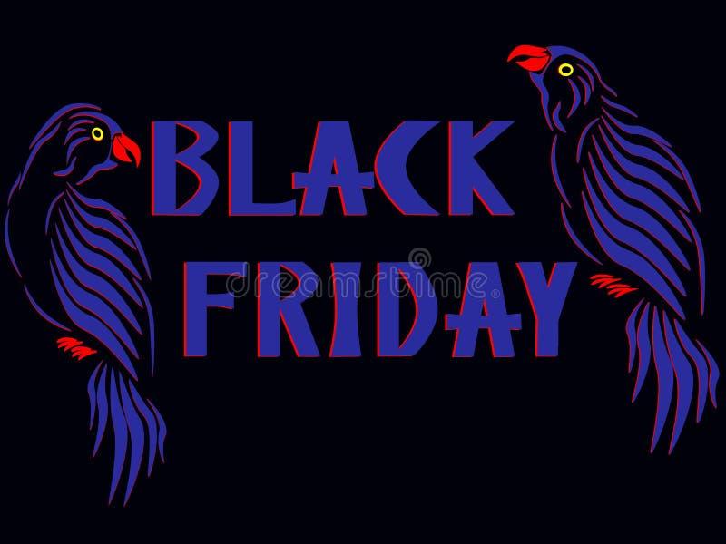 Die Aufschrift Black Friday mit zwei blauen Papageien auf beiden Seiten lizenzfreie abbildung