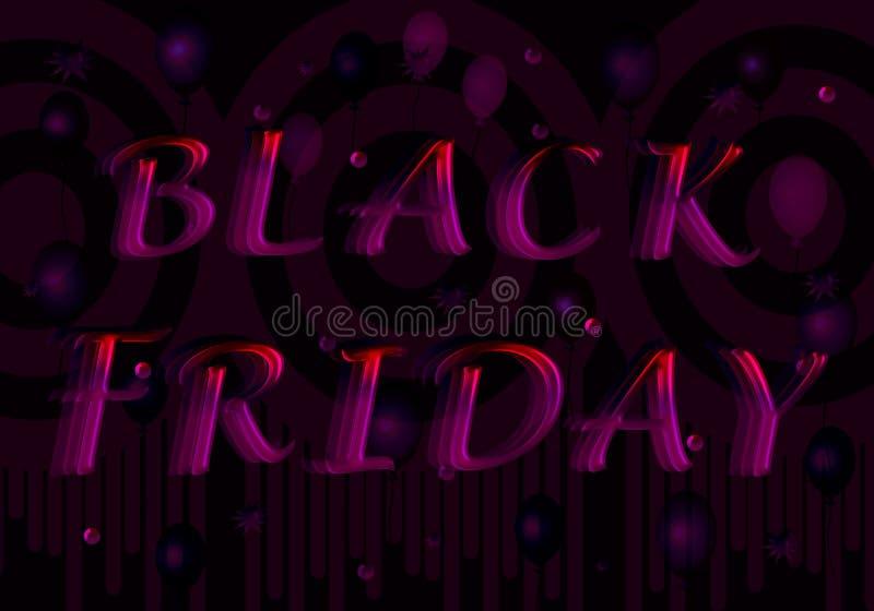 Die Aufschrift Black Friday von den purpurrot-roten Buchstaben lizenzfreie abbildung