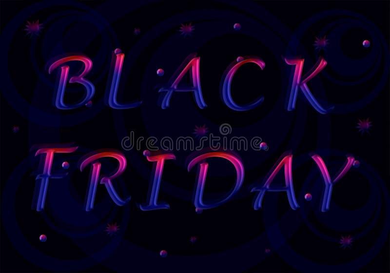 Die Aufschrift Black Friday von den rot-blauen Buchstaben stock abbildung