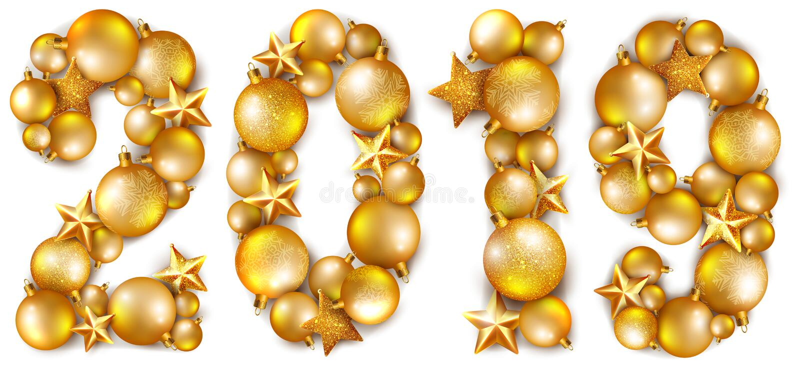 Die Aufschrift 2019, gemacht von den goldenen glänzenden Christbaumkugeln und von den Sternen vektor abbildung