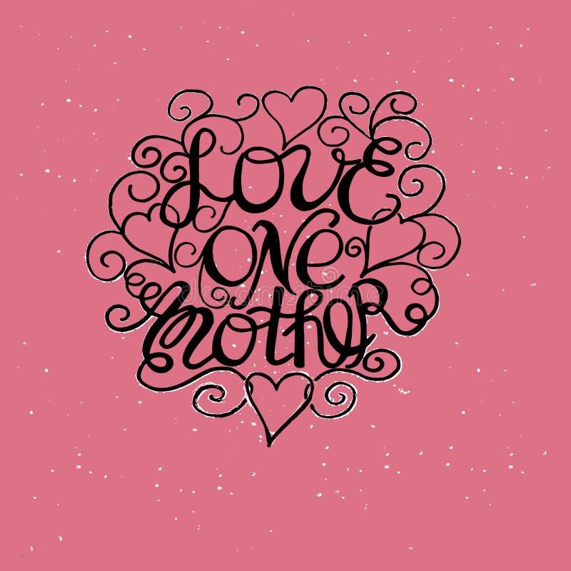 Die Aufschrift Liebe, die eigenhändig mit Locken und Herzen machten lizenzfreie abbildung
