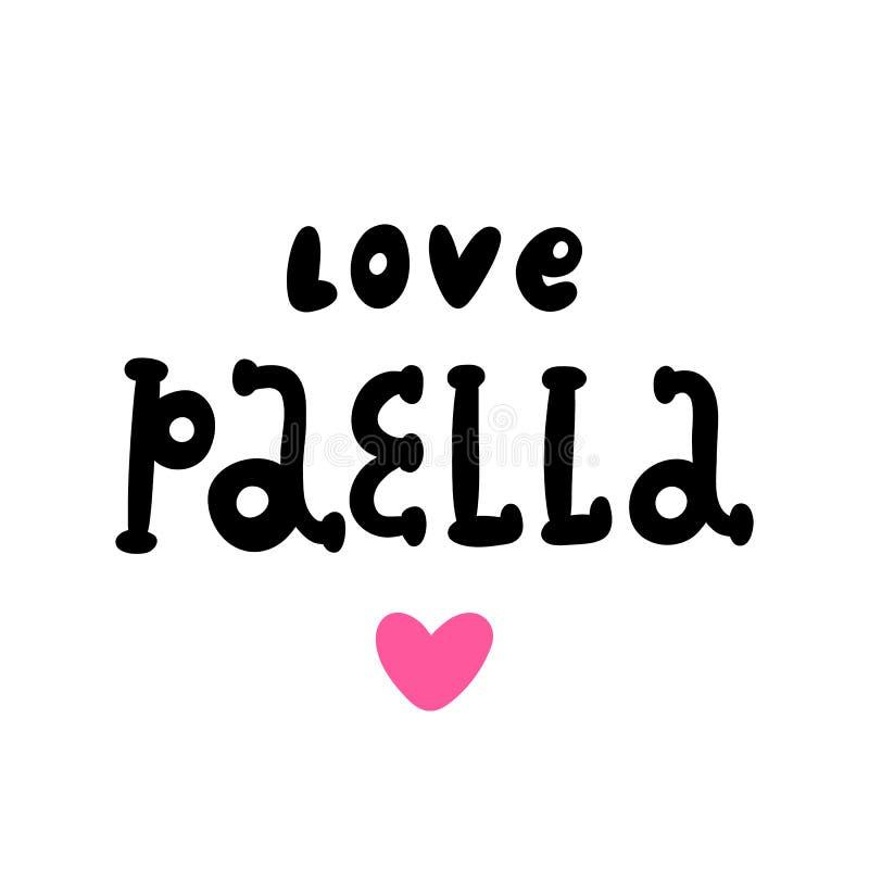 Die Aufschrift: Liebespaella; von der schwarzen Tinte auf einem weißen Hintergrund mit rosa Herzen stock abbildung