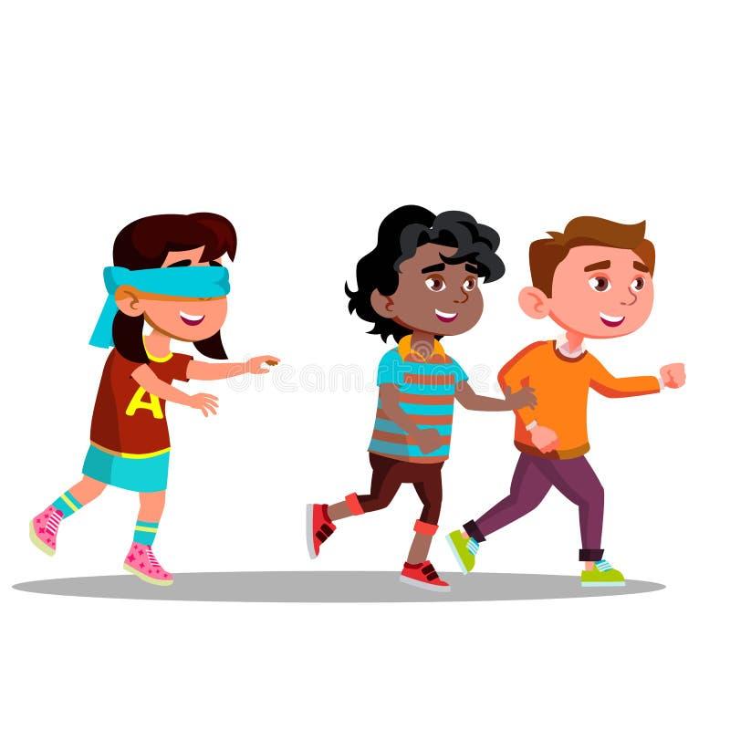 Die Augen verbundenes Mädchen mit den Armen streckte das Suchen von den Freunden aus, die weg Vektor-flache Karikatur-Illustratio stock abbildung