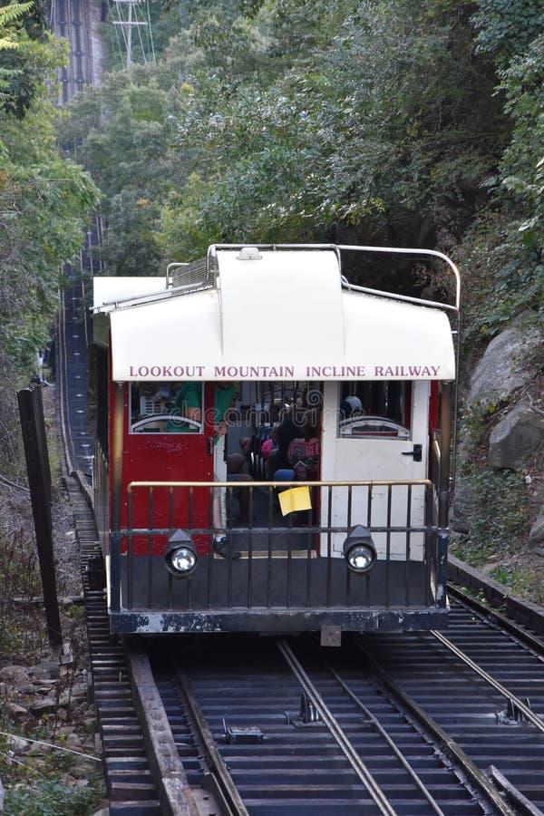 Die Ausblick-Gebirgsneigungs-Eisenbahn in Chattanooga, Tennessee stockfotos
