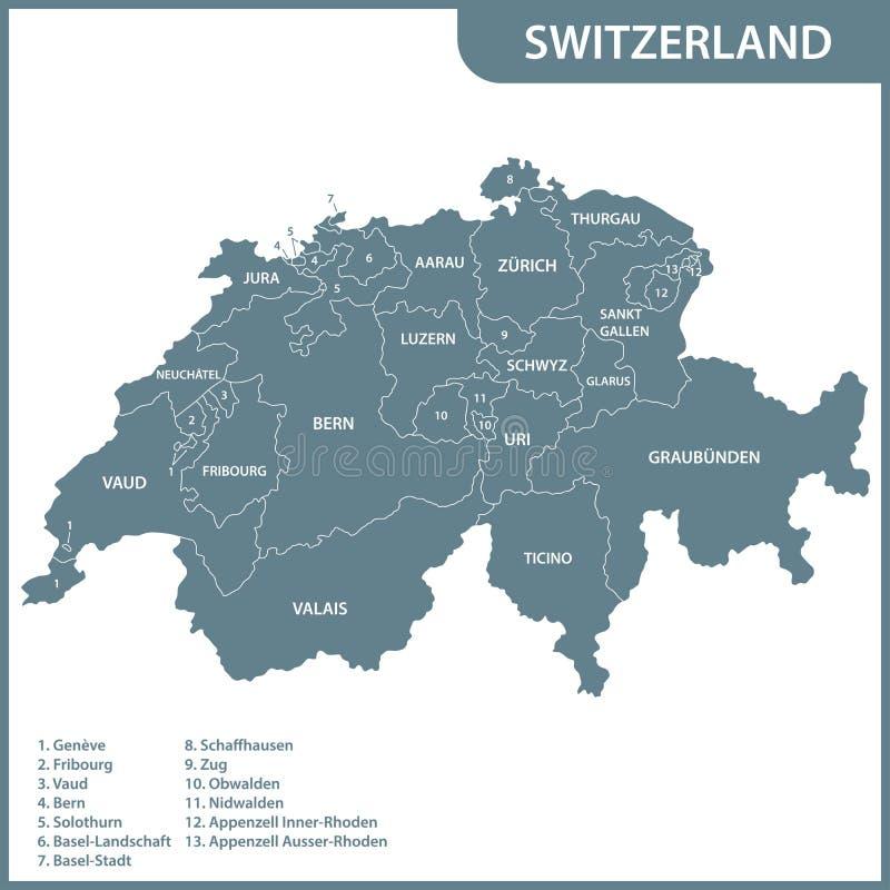 Die ausführliche Karte der Schweiz mit Regionen oder Zuständen lizenzfreie abbildung