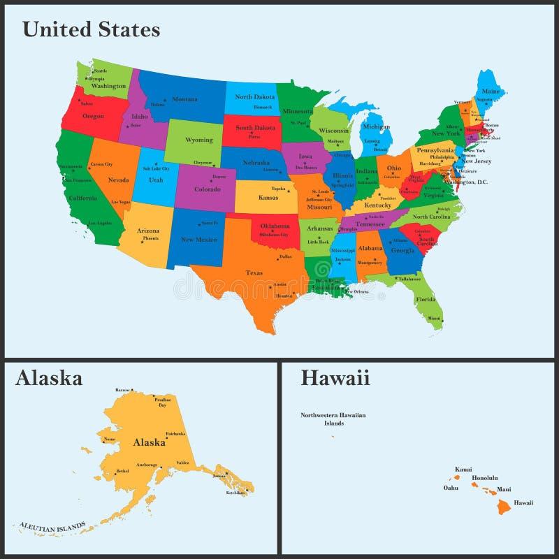 Usa Karte Mit Städten Und Staaten