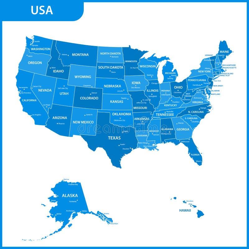 Die ausführliche Karte der USA mit Regionen oder Zustände und Städte, Kapital Staaten von Amerika lizenzfreie abbildung