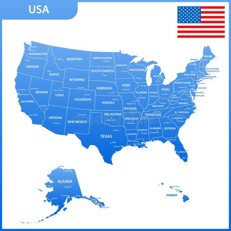 Die ausführliche Karte der USA mit Regionen oder Zustände und Städte, Kapital Die Vereinigten Staaten von Amerika mit Staatsflagg vektor abbildung