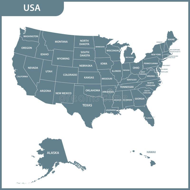 Die ausführliche Karte der USA mit Regionen Staaten von Amerika stock abbildung