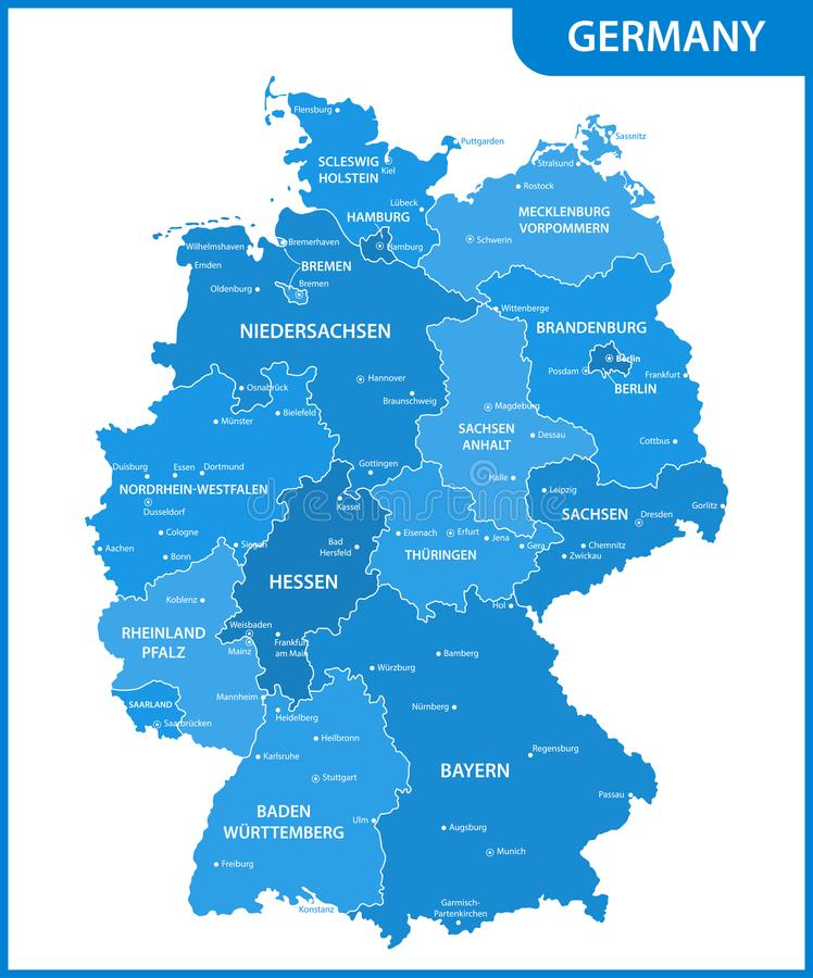 Die ausführliche Karte des Deutschlands mit Regionen oder Zustände und Städte, Hauptstädte lizenzfreie abbildung