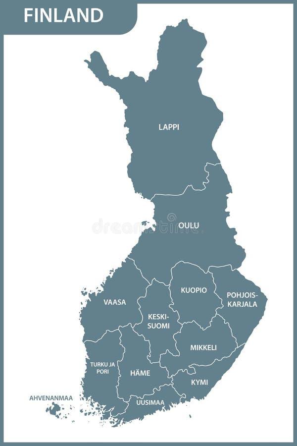 Die ausführliche Karte des Finnlands mit Regionen vektor abbildung