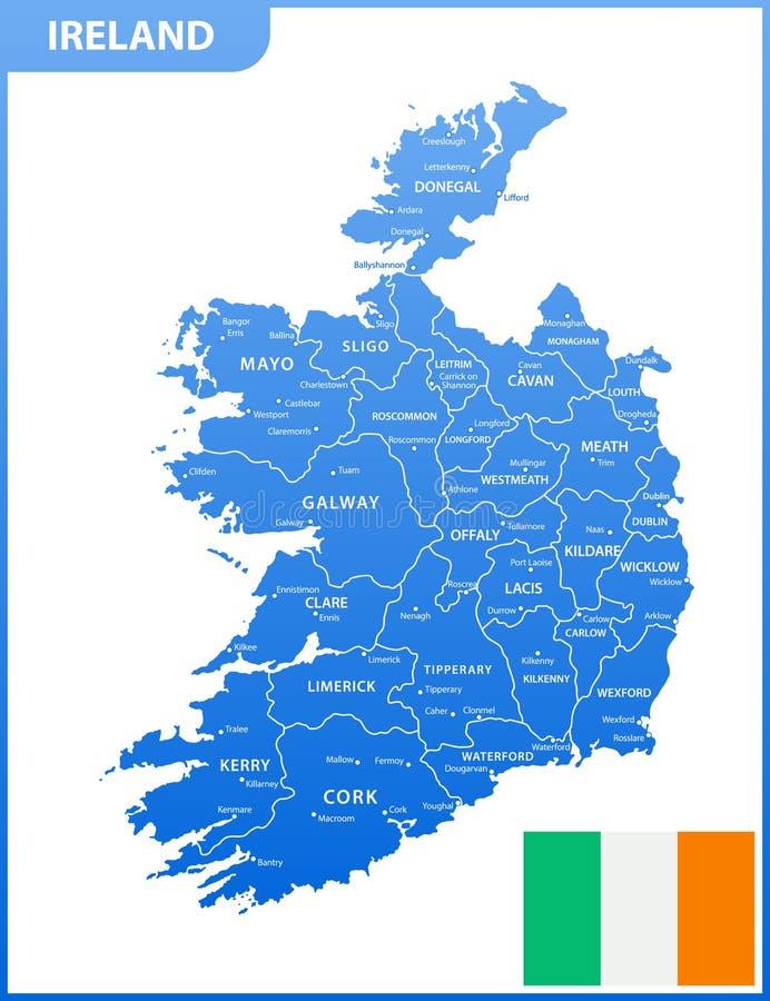 Die ausführliche Karte des Irlands mit Regionen oder Zustände und Städte, Hauptstädte, Staatsflagge stock abbildung