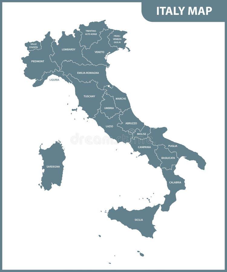 Die ausführliche Karte des Italiens mit Regionen stock abbildung