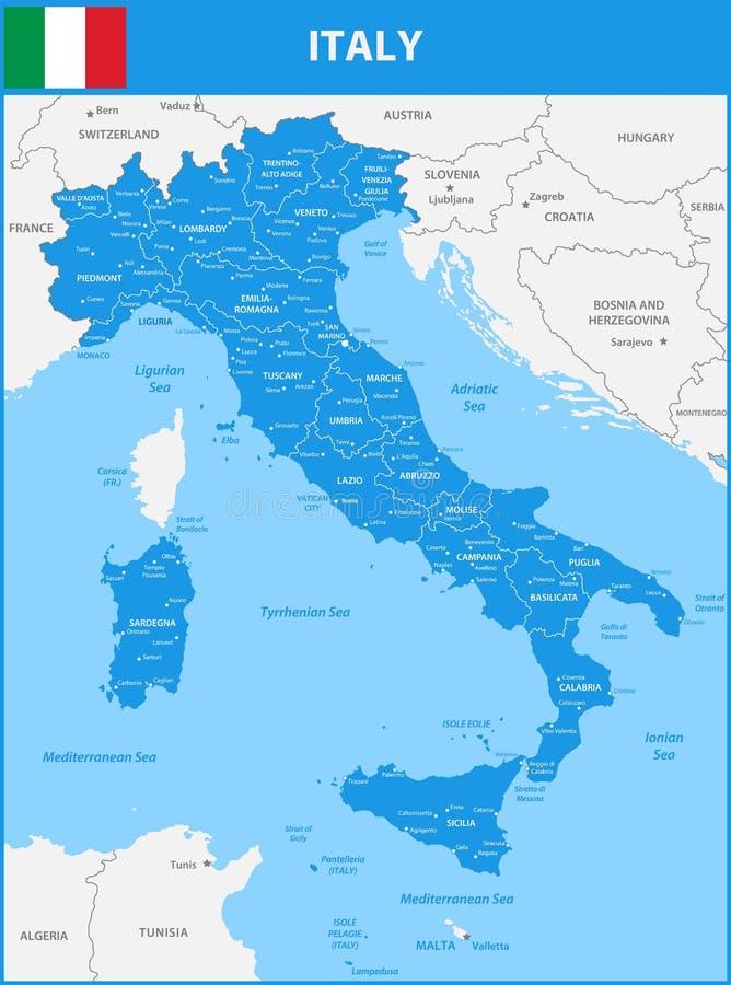 Die ausführliche Karte des Italiens mit Regionen oder Zustände und Städte, Kapital Mit Seegegenständen und -inseln Und Teile bena stock abbildung