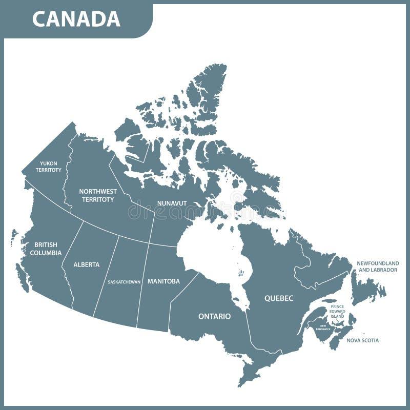 Die ausführliche Karte des Kanadas mit Regionen oder Zuständen vektor abbildung