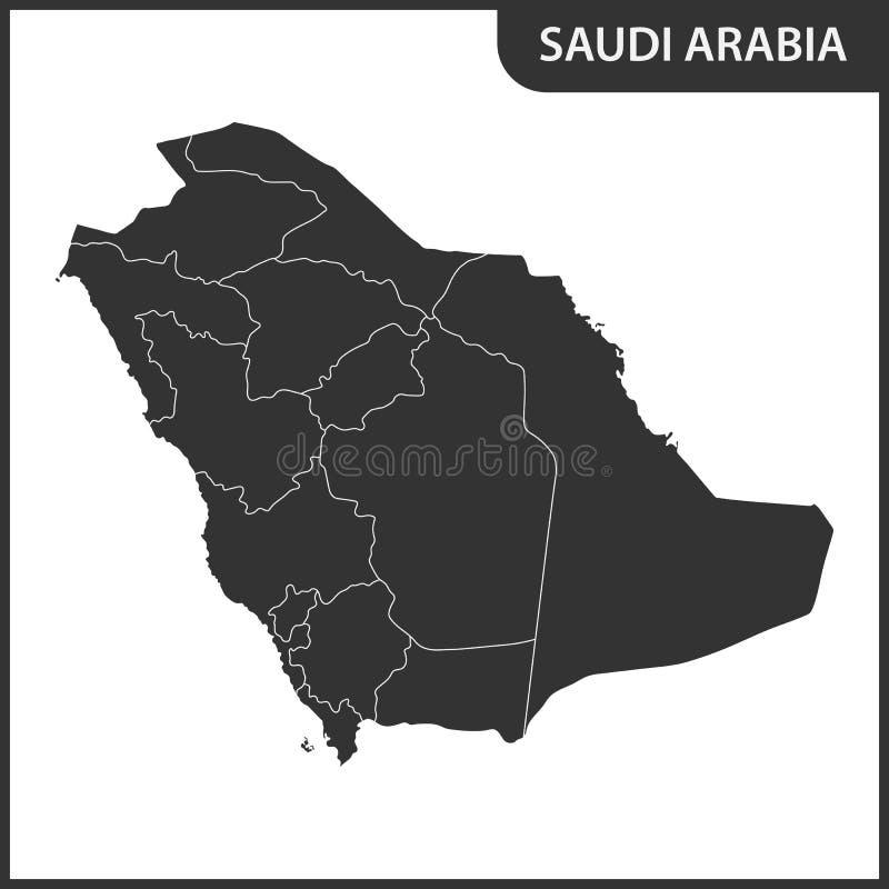 Die ausführliche Karte des Saudi-Arabiens mit Regionen lizenzfreie abbildung