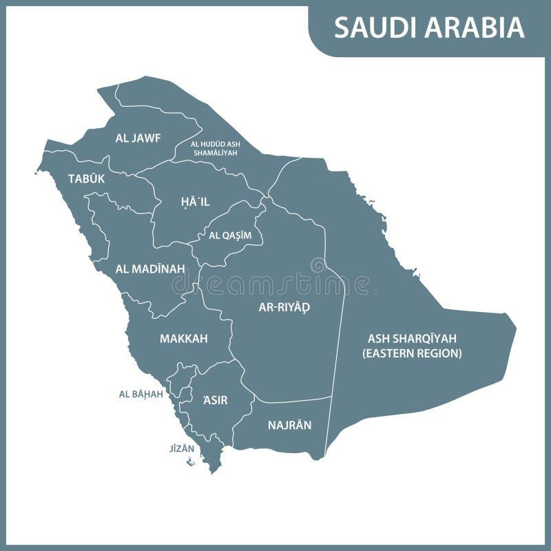 Die ausführliche Karte des Saudi-Arabiens mit Regionen stock abbildung