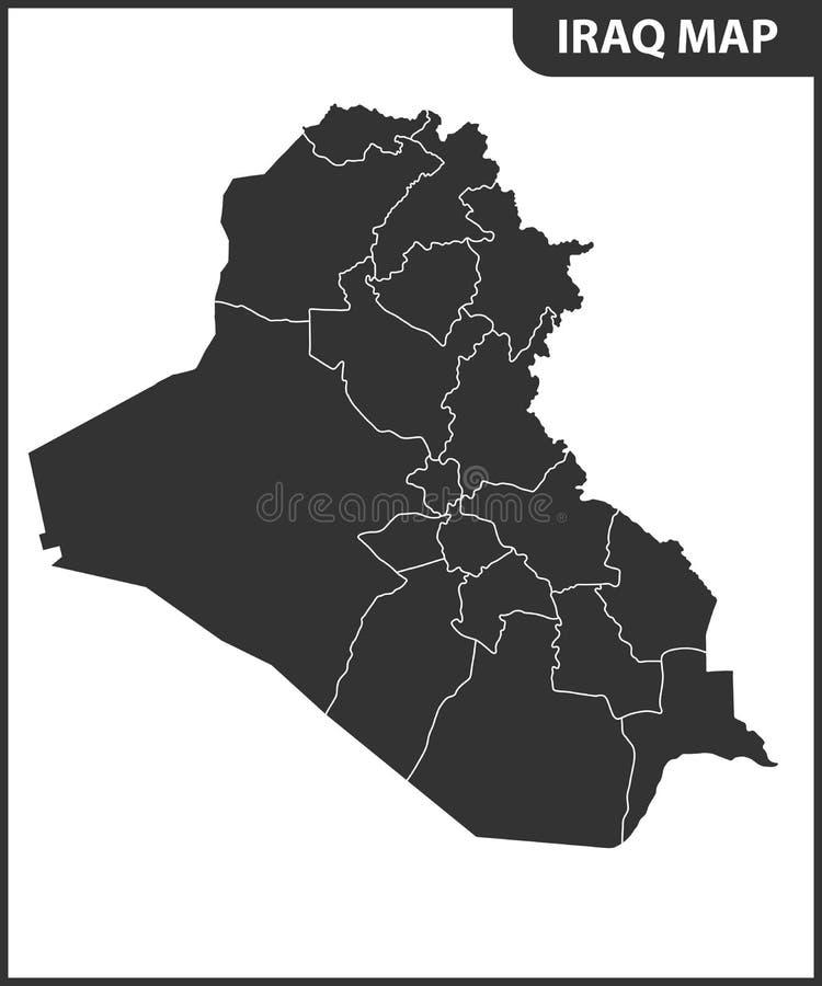 Die ausführliche Karte vom Irak mit Regionen oder Zuständen Verwaltungsabteilung lizenzfreie abbildung
