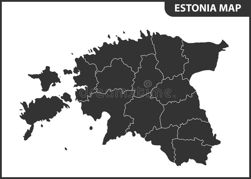 Die ausführliche Karte von Estland mit Regionen oder Zuständen Verwaltungsabteilung lizenzfreie abbildung